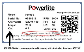 Compliance Plate for Portbale Generator